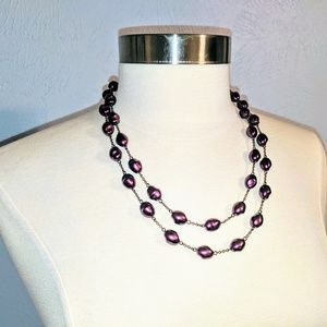 Jewelry - Double Strand Faux Purple Freshwater Pearl Necklac